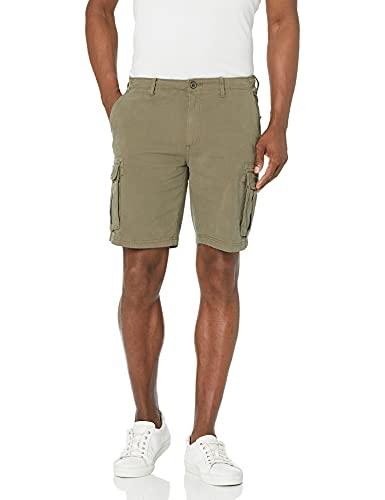 Marca Amazon - Goodthreads: pantalones cortos de lona elásticos con bolsillos para caballero, con 23 cm de tiro., Verde oliva, 31