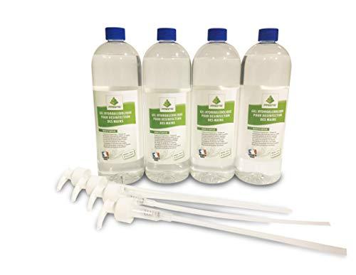 Lot de 4 bidons de 1L de Gel Hydroalcoolique haute qualité - Avec pompes - Fabriqué en France - 76% d'alcool