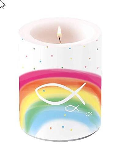Kerze rund Fische auf bunten Regenbogen als Tischdeko zur Kommunion, Konfirmation und Taufe Ø 7,5cm, Höhe 8cm