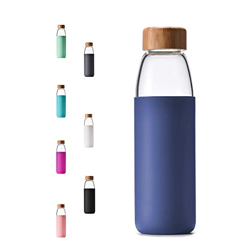 veegoal 25oz, 18oz Borosilicate Glass Water Bottles with Bamboo Lid, BPA-Free Non-Slip Silicone Sleeve, and Bonus Stainless Steel Leak Proof Lid- Reusable Water Bottles for Women and Men