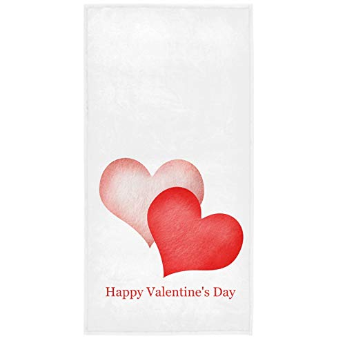 Vdsrup Happy Valentine's Day Hand Towels 30 X 15 In Valentines Abstract Pink Red Hearts Bathroom...
