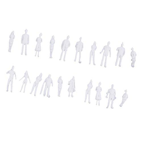 20 Pezzi Scala 1/100 Modello Non Dipinto Persone Personaggi Figura Architettonica in Miniatura - 1,9-2,2 cm