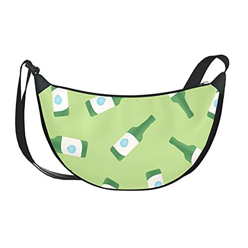 Bolsos bandolera de viaje para mujer Moda creativa Retro Botella bonita para mujer Bolso sobre el hombro Bolso para mujer con cierre de cremallera para mujer