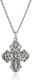 Amazon Collection Sterling Silver Four Way Medal with Antique Finish and Stainless Steel Chain 24