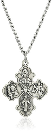 Amazon Collection Sterling Silver Four Way Medal with Antique Finish and Stainless Steel Chain, 24'