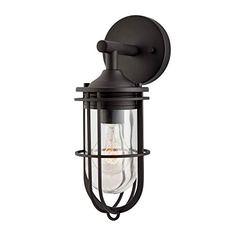 NOMA Outdoor Wall Lantern | Waterproof Outdoor Down-Facing Exterior Light for Front Door, Backyard, Garage, Patio or Décor | Black Finish with Clear Glass Shade (Single-Pack, Black)