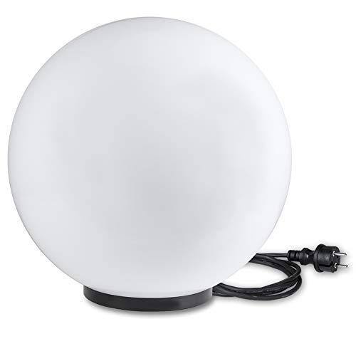 Kugelleuchte 40 cm Ø | weiße Gartenlampe, Außenleuchte, schöne Deko für Innen & Außen, Gartenbeleuchtung, Gartenkugel für Energiesparlampen E27 & LED - 230 V, Kugellampe mit IP45, 180 cm Kabel
