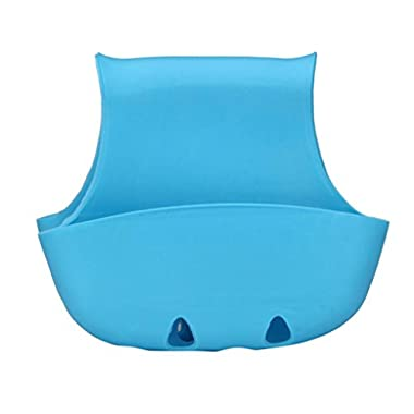 Hatop Double Sink Caddy Saddle Style Kitchen Organizer Storage Sponge Holder Rack Tool (Blue)