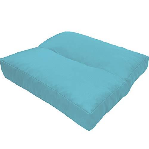 DILUMA Coussin d'assise LoungeWave pour Jardin - Coussin Outdoor Anti-salissants pour bancs, sièges en pallete, Chaise de Jardin, Taille:40 x 40 cm, Couleur:Bleu Clair