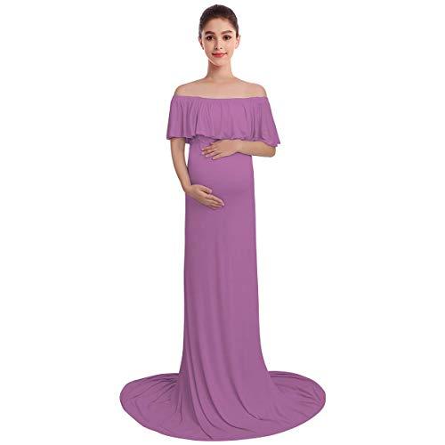 Vestido De Noche Hombros Libres Langes Embarazada Vestido De Tamaños Cómodos Maternidad Maternidad De Maternidad Accesorios De Fotografía Señoras Carmen Por Hombro De Fotos De Vestir Ropa De Rodaje