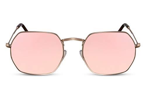 Cheapass Gafas de Sol Montura Octogonal Dorada Pink Mirrored Metal UV400 Hombres Mujer