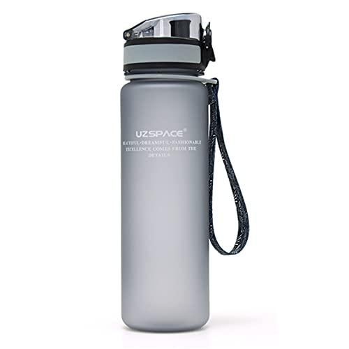 HIZQ Botella De Agua Deportiva, Botella De Agua A Prueba De Fugas Botella De Gimnasio, Sin BPA Botella De Agua para Deportes De Gimnasio para Adultos Aplicable Oficina,Gris,800ml
