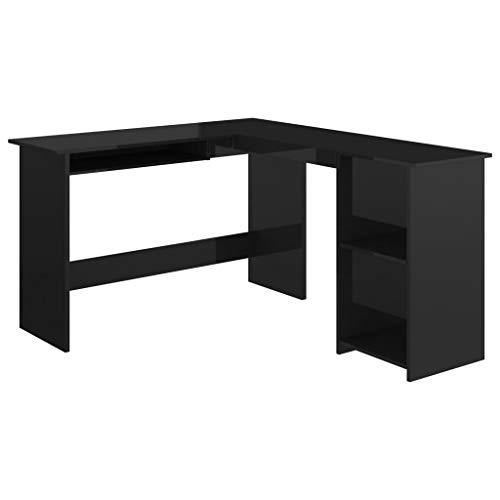 vidaXL Escritorio de esquina en forma de L, para ordenador, escritorio, escritorio, mesa de oficina, mesa en ángulo, mesa de trabajo de color negro brillante, 120 x 140 x 75 cm, aglomerado