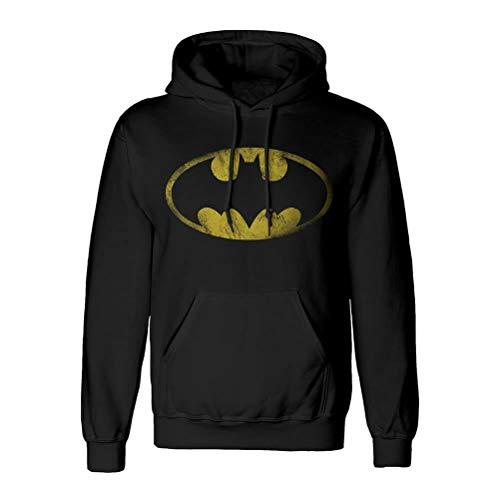 Batman Sudadera con Capucha Logo Desgastado con Capucha DC Comics Negro - M