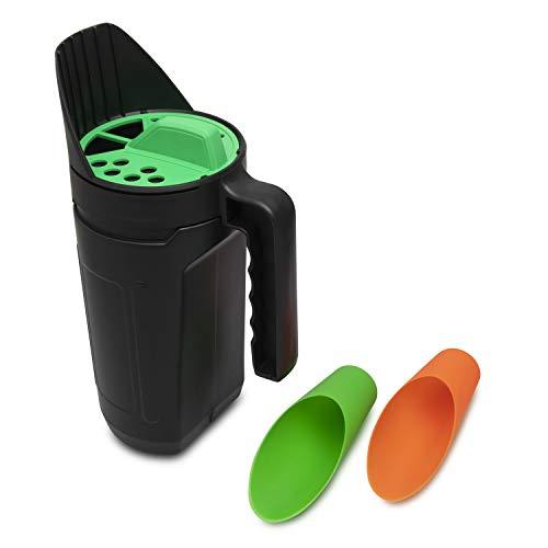 Gunda 2.5 L Handheld Spreader - Multiple Adjustable Opening Sizes for Ice, Snow Melt, Salt, Fertilizer and Grass Seed - Complete with 2 Piece Soil Scoop Set