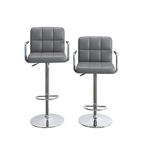 Homfa Barhocker Barstühle 2er Set höhenverstellbar Drehstuhl Barstuhl mit Armlehnen drehbar Lehne Belastbar bis 160kg Grau