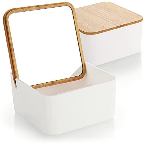 com-four® 2X Organiseur cosmétique avec Miroir de Maquillage - boîte à cosmétiques avec Miroir dans Le Couvercle en Bambou - boîte en Plastique (02 pièces - Organisateur cosmétique Angulaire)