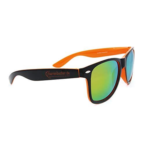 W&S Sonnenbrille personalisierbar | Individuell | Gravur | UV 400 | Party-Brille | Vereine | Geschenk | JGA | Verspiegelt | Brille | Give-Away | Fasching | Geburtstag | Unisex (Schwarz-Orange)