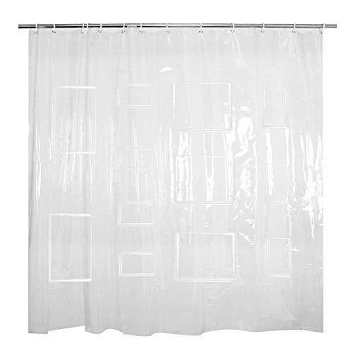 Transparenter Duschvorhang, Handytasche, mit 12 Taschen & 12 Haken, ungiftig & wasserdicht