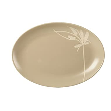 Gourmet Basics by Mikasa Sliver Tan Oval Serving Platter, 12.5-Inch
