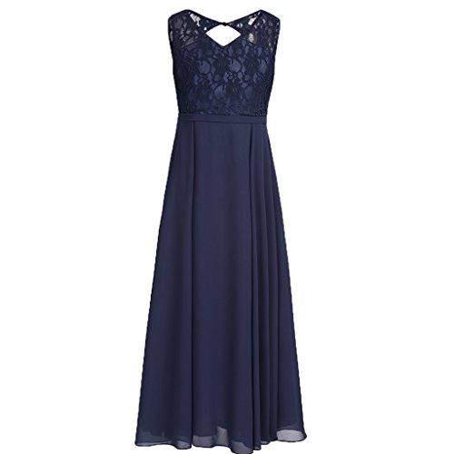 YiZYiF Kids Big Girls Lace Chiffon Bridesmaid Flower Girl Dress Dance Party Maxi Gown Navy Blue 12