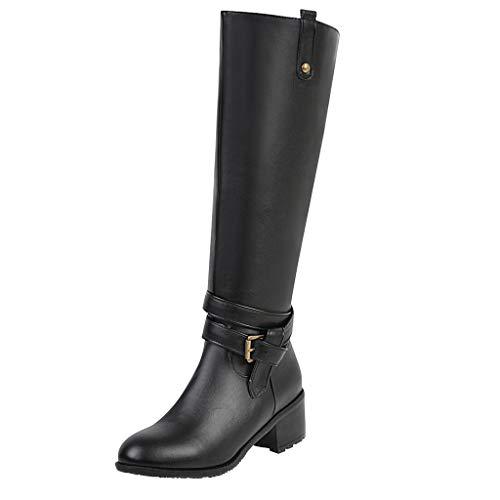 Yowablo Damen Hohe Stiefel Winter Schuhe Leder Warme Kunstfell Gefüttert Schneestiefel Reitstiefel Damen Stiefel Overknees mit Blockabsatz Schleifen (43,Schwarz)