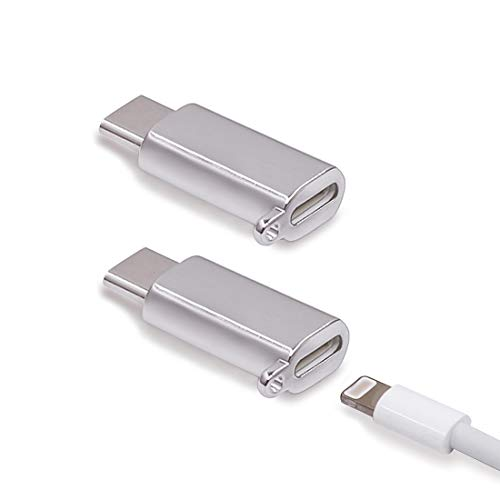 USB-C Adapter - i Cable Female to USB Type C Male, USB C Charging Adapter for Galaxy Note 9 Pixel 3 (USB-C, Silver)
