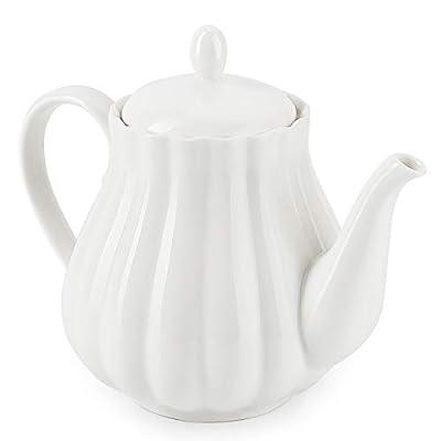 Sweese 222.101 Ceramic Teapot Pumpkin Fluted Shape, White - 28 Ounce