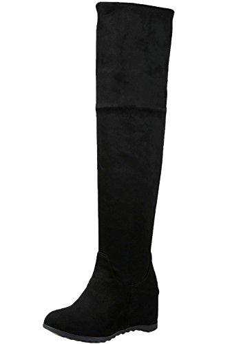 Über Knie Stiefel Damen Herbst Winter Spitzen Casual Faltbare Warme Bequem Keilabsatz Lange Stiefel Von BIGTREE Schwarz 40 EU