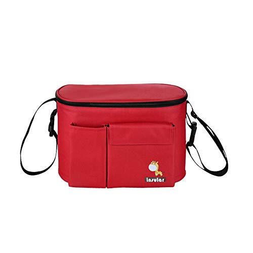 Impermeable Totalizador Bolsa de Hombro Cochecito Almacenamiento de Pañales Bolsa de Mantener Temperatura Interna (Rojo)