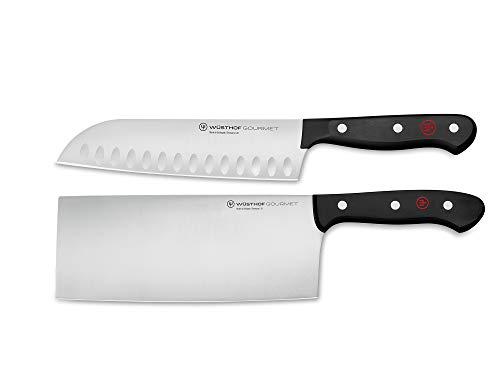Wüsthof Messersatz 2-teilig, Gourmet (1125060201), inkl. Santoku Messer, Chinesisches Kochmesser, Edelstahl, für Spülmaschine, Asiatisches Messer Set