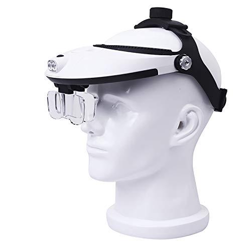 Lupa de Cabeza iluminada con LED Desmontable Zoom de -1X a 3.5X con 5 Lentes Desmontables - Gafas de Aumento iluminadas montadas en la Cabeza para Lectura, reparación electrónica