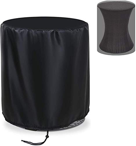 HZWLF Small Round Garden Cover For Keter 7.5-Gal Cool Bar Table Waterproof Cover For Rattan Stool Cocktail Table Small Patio Cover For Ice Bucket Tables, Black