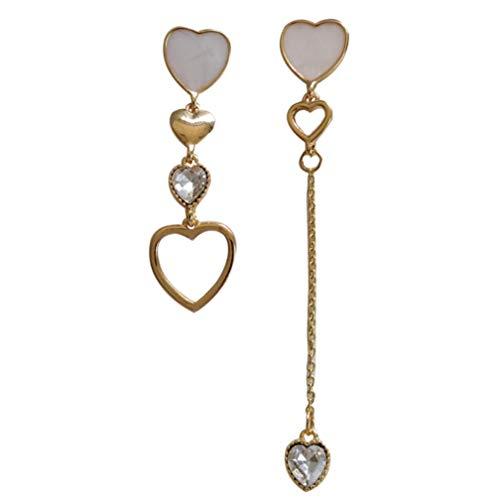 Yhhzw Pendientes De Botón Asimétricos De Corazón Simple Pendientes De Borla De Resina Epoxi De Cristal De Geometría Larga Para Joyería De Mujer