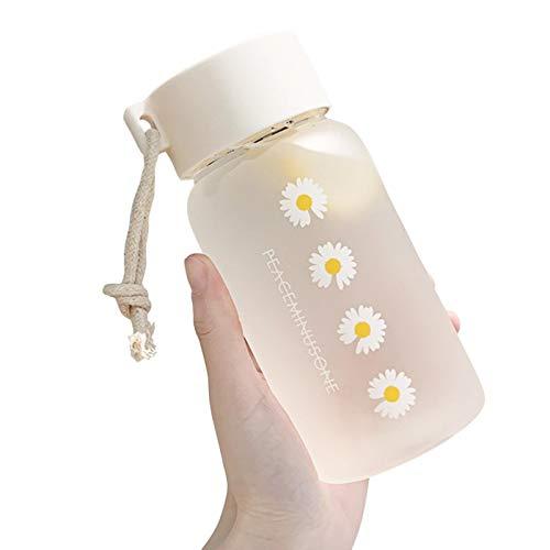 Botella de agua de margarita de 500 ml, botella de agua pequeña, de plástico, portátil, transparente, con cuerda portátil, para escuela, hogar, oficina, viajes, deportes, yoga, gimnasio