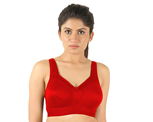 Tanishqa Trylo Women's Non Padded Non Wired Soft Cup Minimizer Bra Trylo Omnimiser Red 40 D