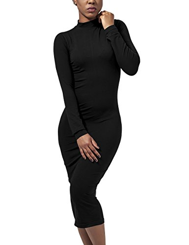 Urban Classics TB1296 Damen Kleid Ladies Turtleneck L/S Dress, Midi, Gr. 34 (Herstellergröße: XS), Schwarz (black 7)