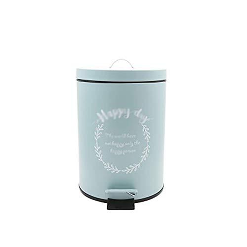Cubo de basura de metal redondo, cubo de basura de pedal, cubo de basura para cuarto de baño, dormitorio, cocina, oficina, escritorio, papelera (color: azul) ggsm (color: azul)