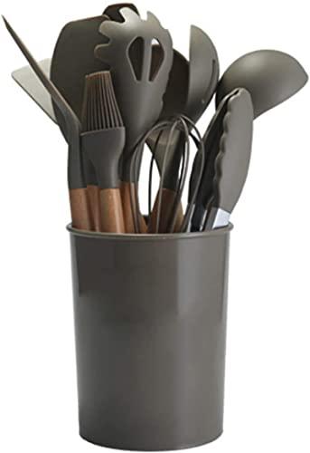 Silica Gel Kitchenware10-piece Set,silicone Cooking Kitchen Utensils Set,Spoons,egg Beater,tools Turner,heat Resistant Baking Nonstick dark green Jingle cat (Color : Brown)