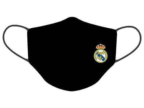 DARK DIAMOND® - Funda de Doble Capa, Lavable multifunción Reutilizable Real Madrid C.F. Funda con Logotipo Escudo y Nombre Serigrafiado Suave, no Pica ni irrita la Piel.