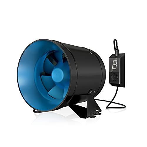 TerraBloom ECMF-200, ventilador silencioso de conducto en línea de 8 pulgadas con controlador de velocidad variable 0-100%, carcasa de metal hermética, motor EC de bajo consumo....