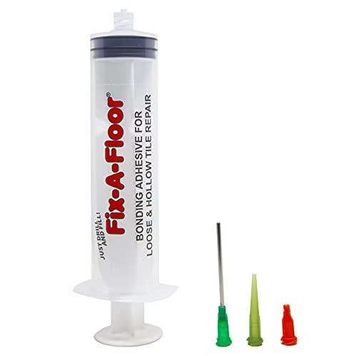 Fix-A-Floor 60ml injectiespuit zelfklevende applicator kit met platte roestvrijstalen naald, plastic applicator & afdichtingsdop - ideaal voor gebieden met dunne grout-lijnen