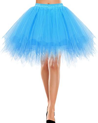 Bbonlinedress Rock Knielang Tüll Underskirt Petticoat rosa/weiß Dirndl Vintage 50s Petticoat Berlin Retro Tutu Tüllrock Crinoline Cosplay Blue L