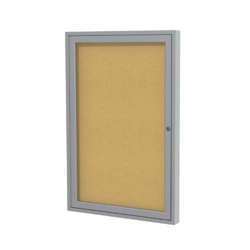 """Ghent 3""""x2"""" 1-Door indoor Enclosed Bulletin Board , Shatter Resistant, with Lock, Satin Aluminum Frame - Natural Cork (PA132K) Made in the USA"""