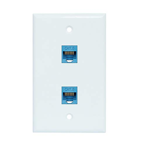 2 Port Ethernet Wall Plate - Cat6 RJ45 Network Wallplate Female to Female Faceplate- Blue