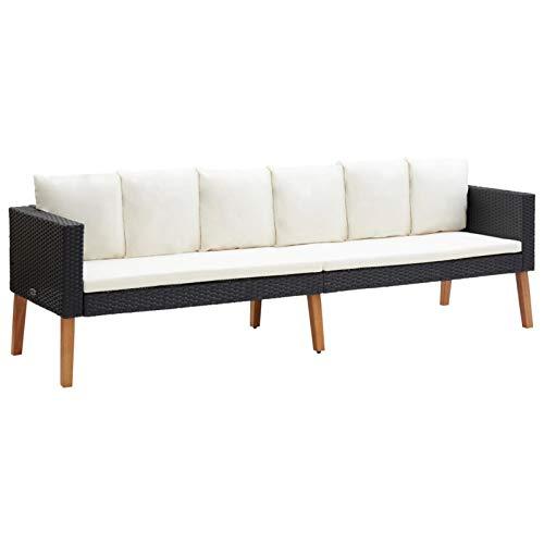 Festnight 3-Sitzer-Gartensofa mit Auflagen Gartenbank Sitzbank Bank Gartensofa Gartenmöbel Lounge Möbel Set Poly Rattan Schwarz