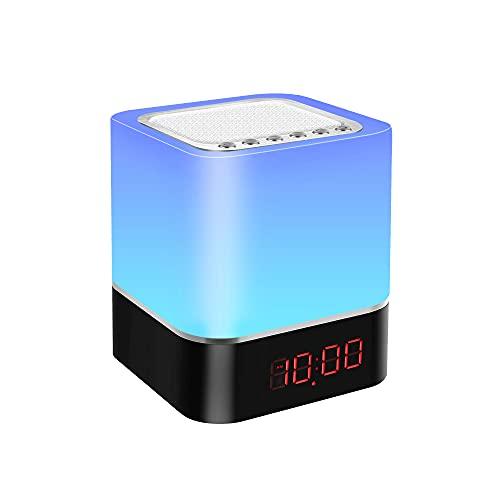 7 Farben Nachttischlampe Touch Dimmbar, Wecker Bluetooth Lautsprecher mit Licht, Baby Nachtlicht, LED Nachttischlampe USB mit SD Karte MP3 Player für Kinder Mädchen Teenager (5 in 1 Multifunktional)