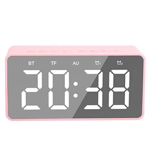 Altavoz Multifuncional Bluetooth LED con Función de Reloj Despertador, Alarma Dual con Pantalla Led de Espejo, Altavoz Portátil Bluetooth de Música de Graves Pesados con Radiodespertador(粉色FM)