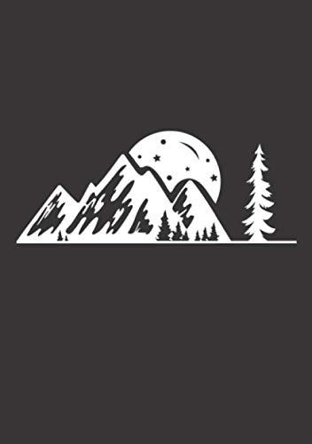 Notizbuch A5 kariert mit Softcover Design: Berge Wald Bäume und Mond Camping Natur Camp Life: 120 karierte DIN A5 Seiten