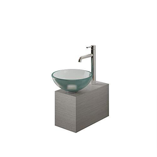 Alpenberger gesatineerde opzetwastafel Ø 31 cm van gehard veiligheidsglas ESG 12 mm inclusief moderne roestvrijstalen kast | Mooie glazen wasbak top glazen wasbak voor uw perfecte badkamer